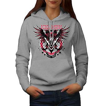 Rebel Motors Club Biker Women GreyHoodie   Wellcoda