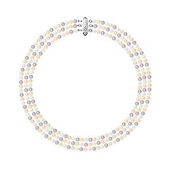 淡水の多色のネックレスの真珠の 3 行