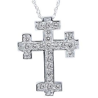 1/2ct Diamond Cross Pendant 14K White Gold 3/4