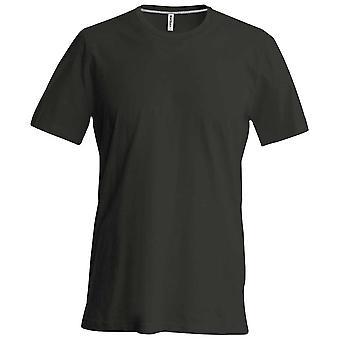 Kariban Mens Slim Fit curto manga tripulação pescoço liso cores t-shirt de algodão