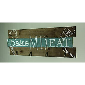 Rustic Wood Decorative Kitchen Wall Plaque with Hooks