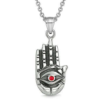 Tous voir se sentant Bouddha œil Hamsa magie pouvoirs amulette rouge pendentif en cristal collier