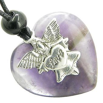 Guardian Spirit Angel Love Heart Amulet Travel Protection Amethyst Gemstone Pendant Necklace