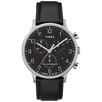 Timex mannen Waterbury klassieke Chronograaf zwart riem TW2R96100D7PF horloge