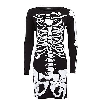 Vestido curto de senhoras manga longa caveira osso esqueleto Bodycon impressão feminino
