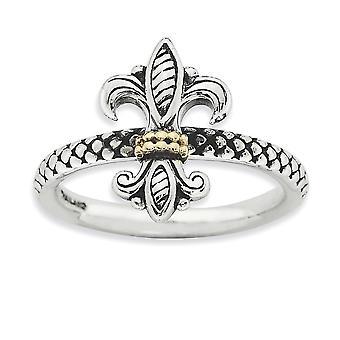 2.5mm 925 Sterling Silver Polerad finish och 14k stapelbara uttryck Ring Smycken Gåvor för kvinnor - Ring Storlek: 5 till 1