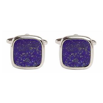David Van Hagen Lapis Lazuli Kare Kol Düğmeleri - Gümüş