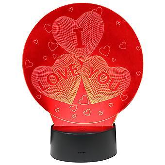 TRIXES многоцветные светодиодные 3D иллюзия любви сердца касания чувствительной ночной свет