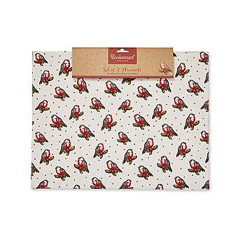 Cooksmart Christmas Red Robin Fabric Placemats
