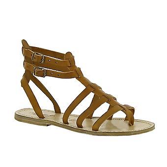 Sandales plates gladiator de féminin fait main en Italie en cuir beige