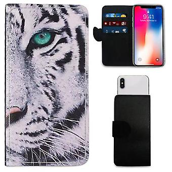 Premium High-Quality White Tiger Design Printed PU Leather Wallet Case for Samsung Galaxy Note 9