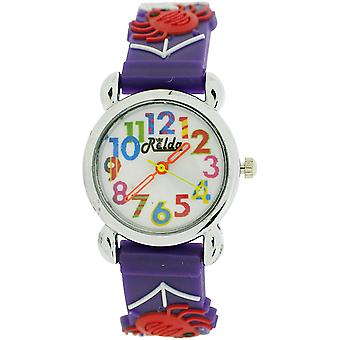 Relda Childrens flickans 3D spindlar & Web på lila silikon Strap Watch REL103