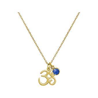 Gemshine YOGA ohm halskjede 925 sølv, forgylt, Rose-2 cm blå safir