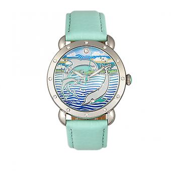 Bertha Estella MOP Leather-Band Ladies Watch - Silver/Turquoise