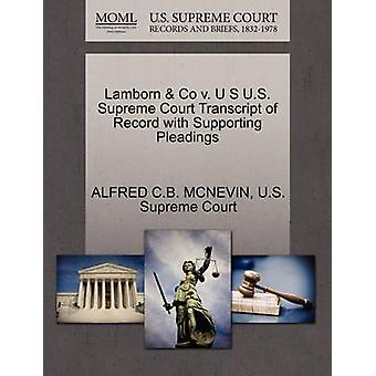 Lamborn Co v. U S US Supreme Court Transcript of Record mit Unterstützung von Schriftsätzen von MCNEVIN & ALFRED C.B