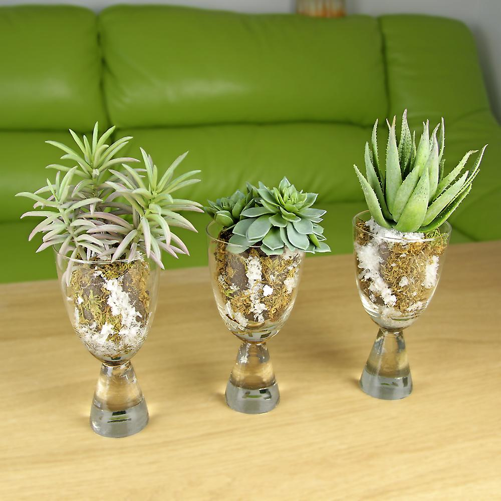 Artificial Succulent in Soil and Snow Vase, Arrangement 2. Real Touch and Look Greenery