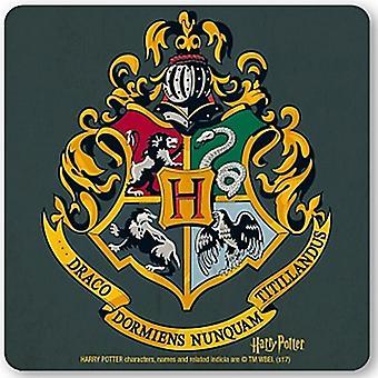 Harry Potter Hogwarts Crest drinks mat / coaster (lsh)