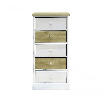 Meubilair Rebecca lade Comodini 5 witte natuurlijke houten lades 84x40x29