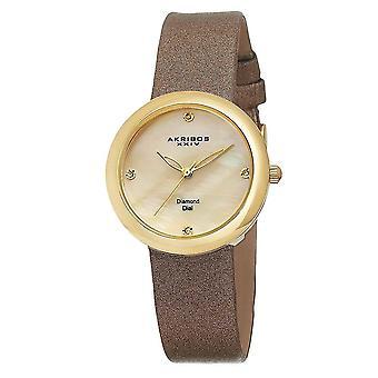 Akribos XXIV donna quarzo svizzero in madreperla con cinturino in diamanti orologio AK687YG