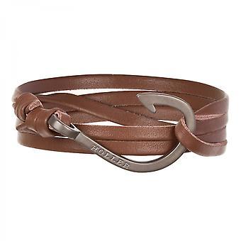 Rope Kirby svart sandblåst krok/brun Lær armbånd HLB-03BKS-L04