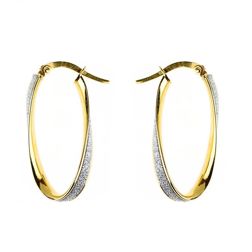 Eternity 9ct Gold Oval Moondust Twist Creole Hoop Earrings