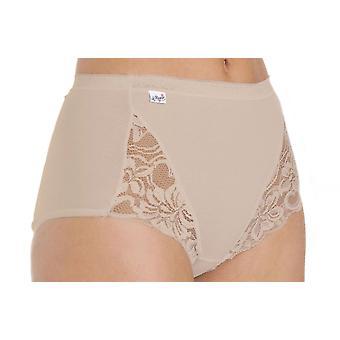 Ladies Combed Cotton & Lace Full Maxi Stretch Brief Pantie Knicker Underwear 3Pk - Beige - 16