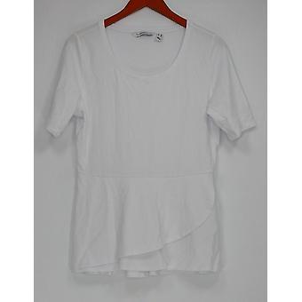 Isaac Mizrahi Live! Womens Top Elbow Sleeve Peplum Flounce White A303962 #0