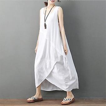 Casual løs MIDI O nakke ermeløs pluss størrelse overdimensjonert kjole