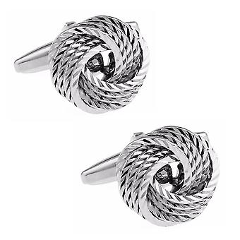 Sølv Tone rustfrit stål Knot stil manchetknapper bryllup