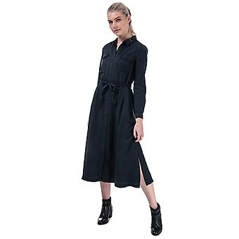 Womens French Connection Tandy Tie Waist Shirt Dress In Blue Black