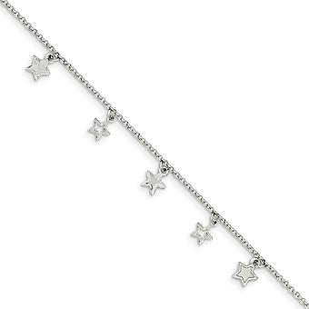 925 Sterling Argento Dangle Aragosta Artiglio Chiusura Lucido Star Bracelet 6 Pollici - 2.3 Grams