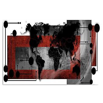 Pannello Deco, con una mappa del mondo Composizione 1