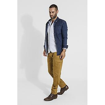 Radcliffe mens organic cotton slim fit cargo trousers - dull gold