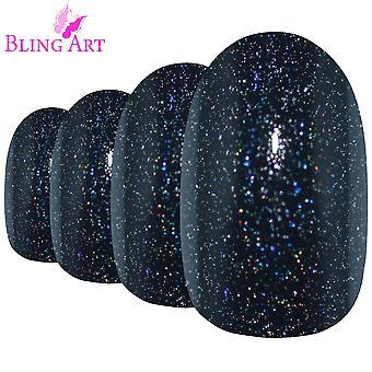 Valse nagels door bling kunst zwart gel ovale middellange nep acryl 24 tips met lijm