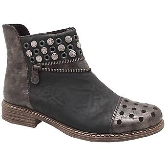 Rieker Black Ankle Boot With Studded Toe Cap