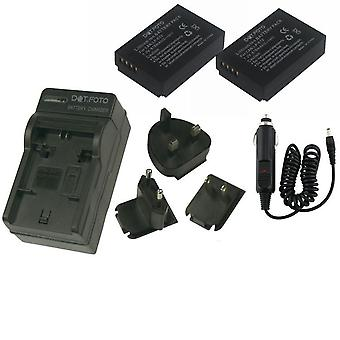 Dot.Foto LP-E12 875mAh Battery (2-pack) and Battery Travel Charger for Canon - 100-240v Mains - 12v in-car adapter [See Description for Compatibility]