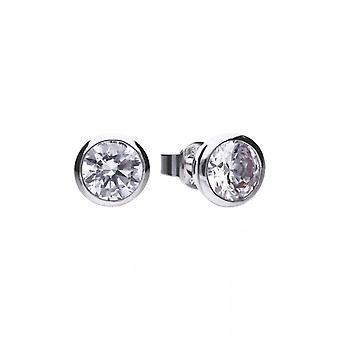 Diamonfire Silver White Zirconia Solitaire Earrings E5620