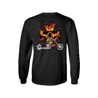 Unisex Long Sleeve Shirt Motorcycle Flames Skull Cross Back Graphic