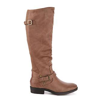 Goale capcane femei YANESSA2 Fabric migdale Toe genunchi High Fashion cizme