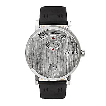 Simplify The 7000 Leather-Band Watch - Silver/Black