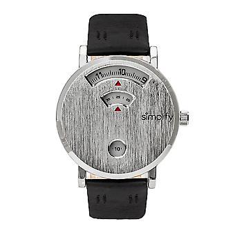 Vereenvoudig de 7000 Leather-band horloge-zilver/zwart