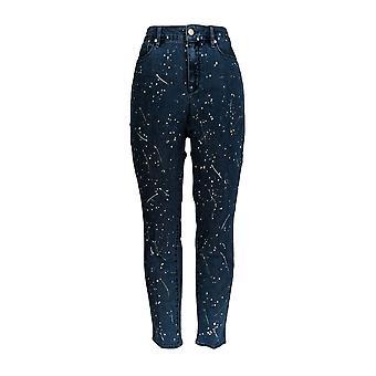 Martha Stewart Frauen's Jeans Paint Splatter 5-Pocket Blue A351153