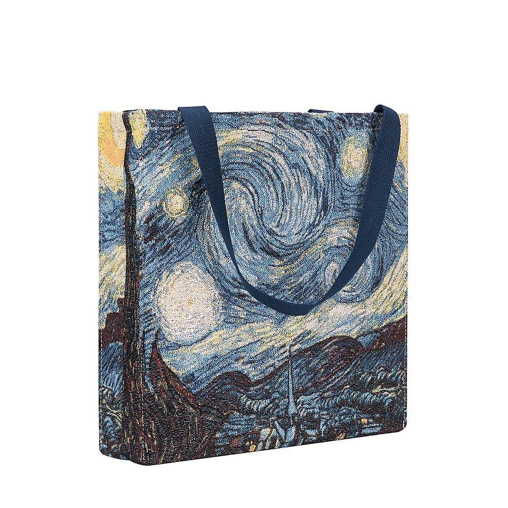 Van gogh - starry night shopper gusset bag by signare tapestry / guss-art-vg-star