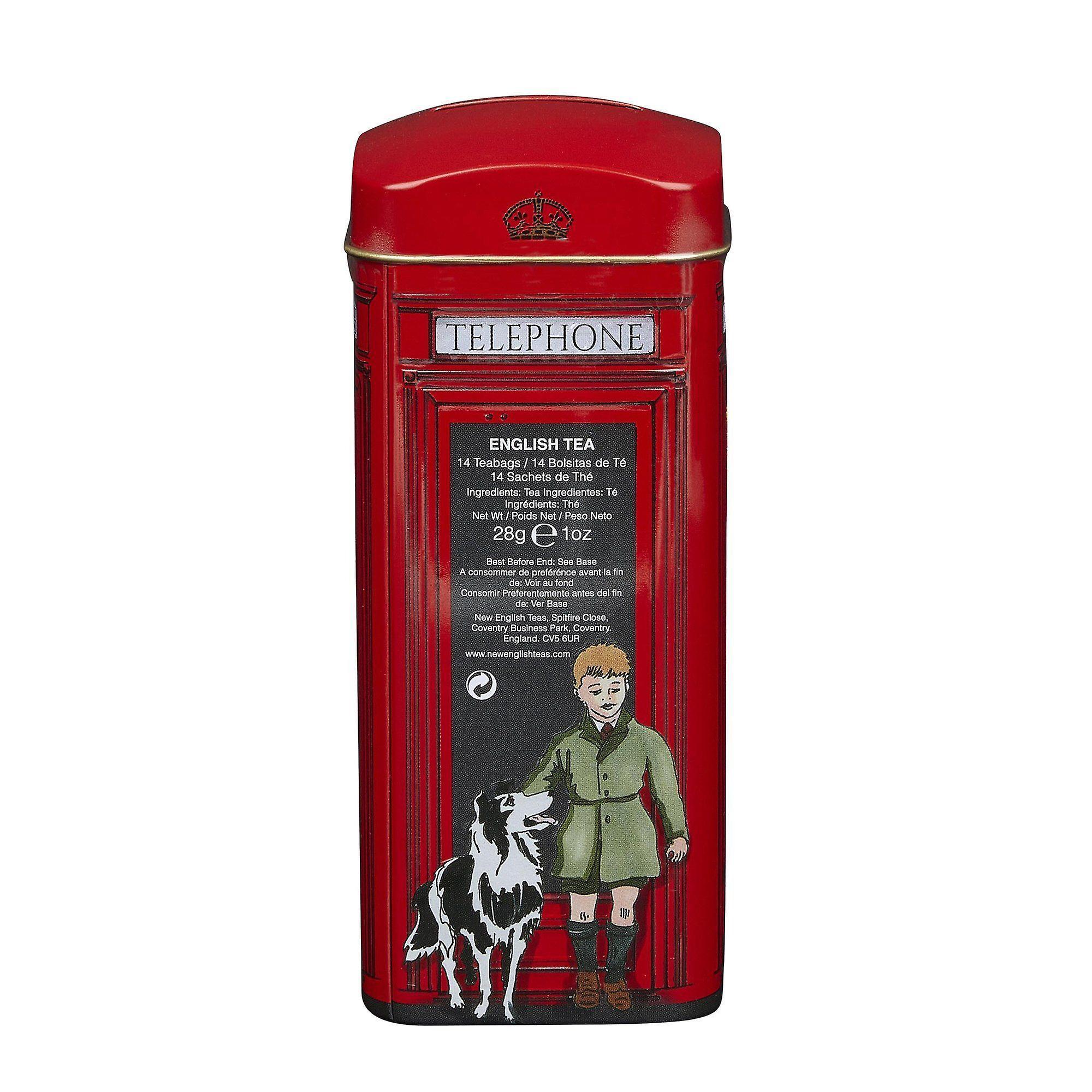 English telephone box english tea tin 14 teabags