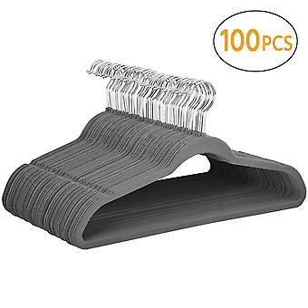 100x ohut tila säästää liuku maton takki ripustimet, harmaa