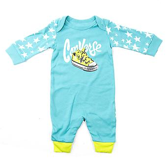 Converse Blocked Graphic Infant Baby Kids Toddler Coverall Aqua Blue