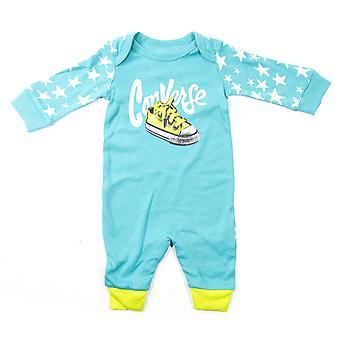 Converse geblokkeerde grafische Baby Baby Kids peuter coverall aqua blauw