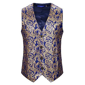 Allthemen Men'S V-Neck Court Solid Color Bronzing Three-Dimensional Printing Vest Suit