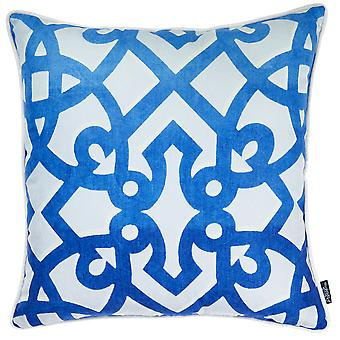 Blue Trellis Decorative Throw Pillow Cover Printed