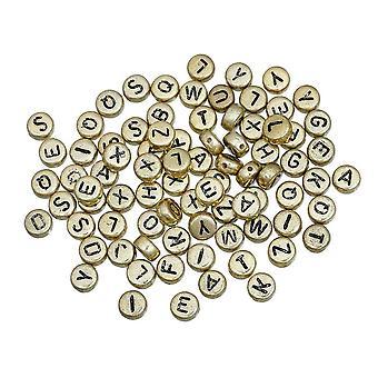 7mm Shiny Gold Round A-Z Black Plastic Letter Beads Box Set